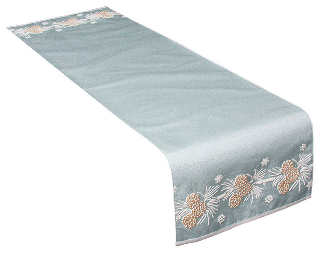 Winter Pine Cone Christmas Table Runner Winter Blue 13 5 X48