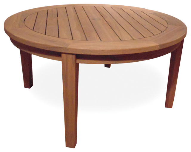 Lloyd Flanders Teak 48 Round Tapered Leg Conversation Table Contemporary Coffee Tables By