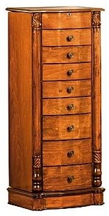 Louis Xvi 8 Drawer Solid Wood Jewelry Armoire Stand