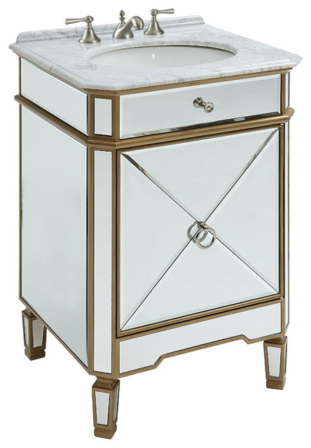 24 Mirror Reflection Gold Asger Powder Room Bathroom Vanity 5027gc Traditional Bathroom Vanities And Sink Consoles By Chans Furniture Showroom