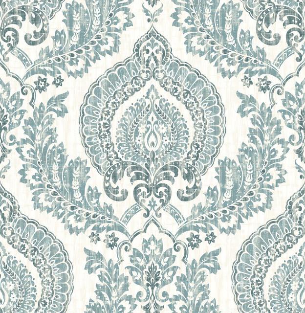 Nuwallpaper By Brewster Nu1702 Kensington Damask Blue Peel Stick Wallpaper Traditional Wallpaper By The Savvy Decorator Llc