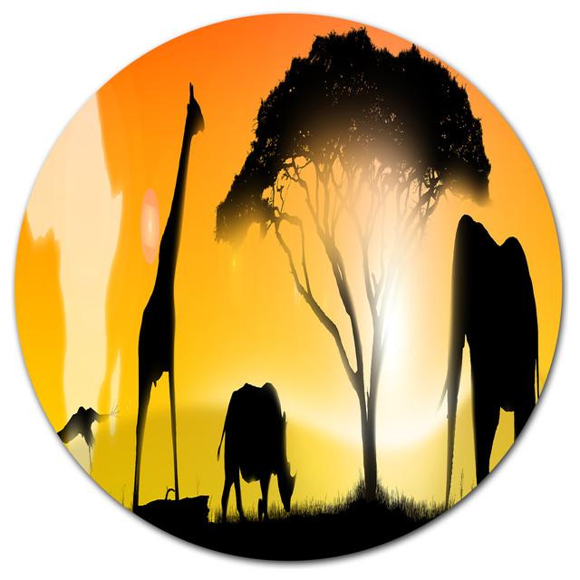 Design Art USA - African Wildlife Panorama, African Disc Metal Wall ...