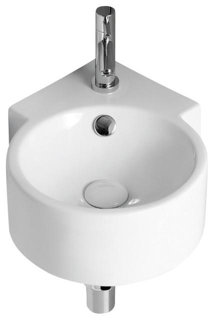 round white ceramic wall mounted corner bathroom sink