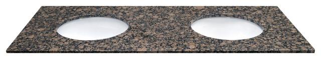 """61"""" X 22"""" Double Bowl Baltic Brown Natural Granite Vanity Top."""
