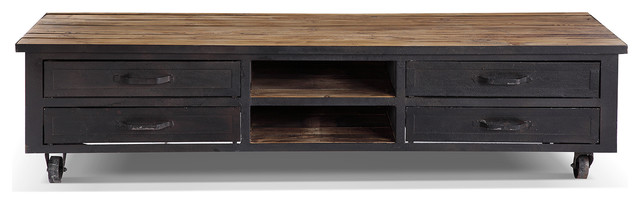 meuble tv industriel roulettes bois m tal. Black Bedroom Furniture Sets. Home Design Ideas