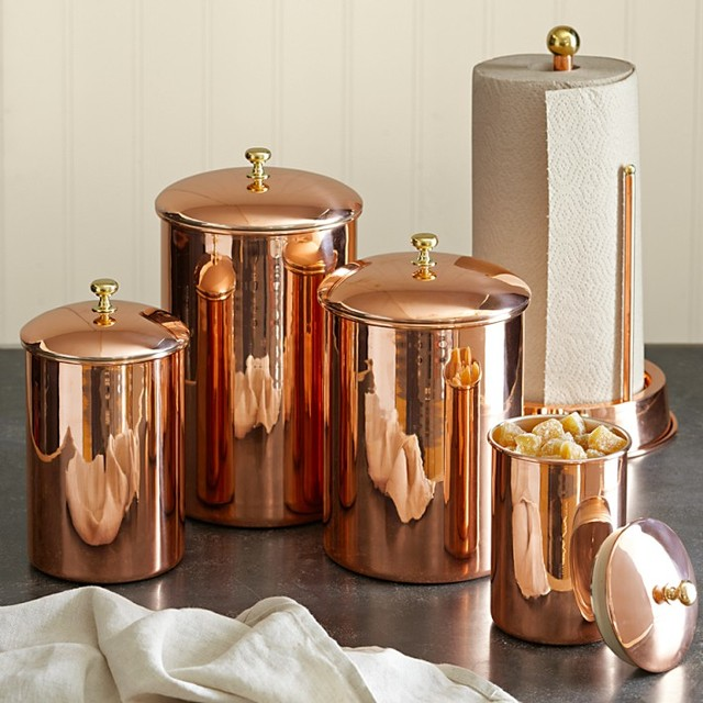 Copper Canister Traditional Kitchen Canisters And Jars By Williams Sonoma