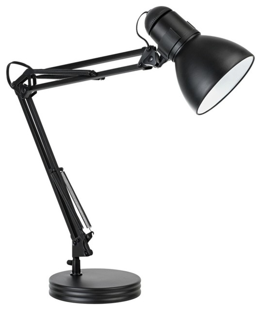 "35"" Heavy Base Architect Black Swing Arm Desk Lamp."