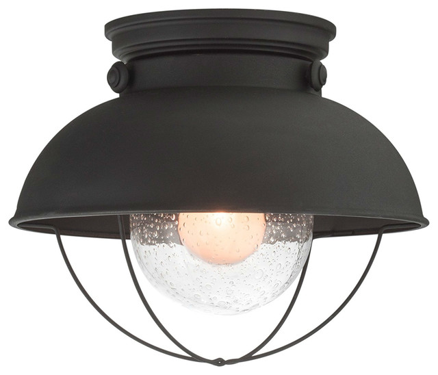Industrial Farmhouse Flush Mount Ceiling Light, Bubble Glass Shade, Matte Black.