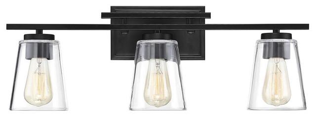Calhoun 3 Light Bathroom Vanity Light in Black