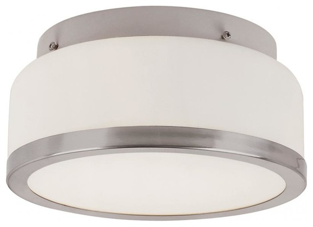 Two Light Brushed Nickel White Frosted Round Glass Drum Shade Flush Mount.