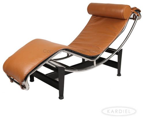 Kardiel Le Corbusier Style LC4 Chaise Lounge, Caramel Aniline Leather