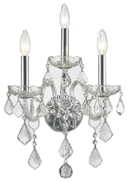 Traditional Venetian 3 Light Clear Crystal Candle Wall Sconce Cryst