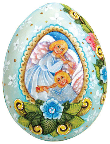Hand Painted Wrapped Wishes Heavenly Guidance Egg Box.