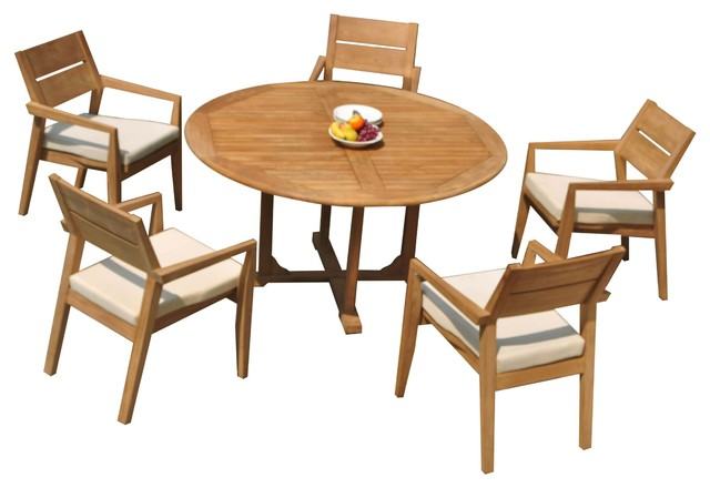 6 Piece Outdoor Teak Dining Set 60 Round Table 5 Celo Stacking Arm Chairs