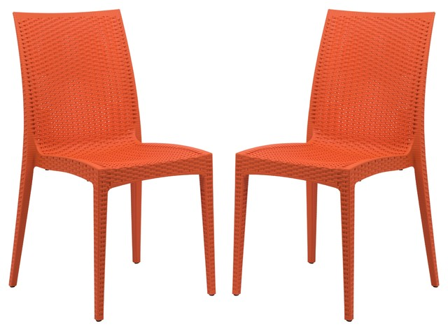 leisuremod weave mace dining chairs armless orange set of 2
