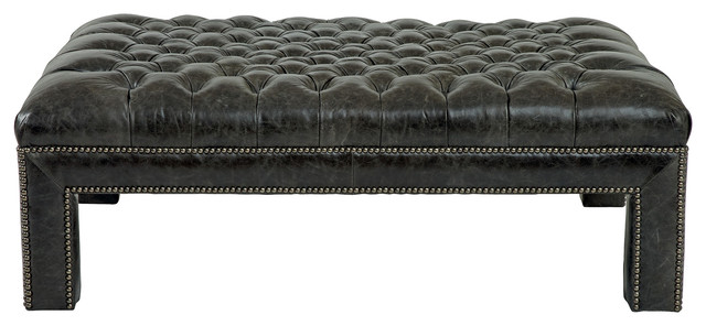 caiden industrial loft antique nickel brown leather ottoman - Brown Leather Ottoman