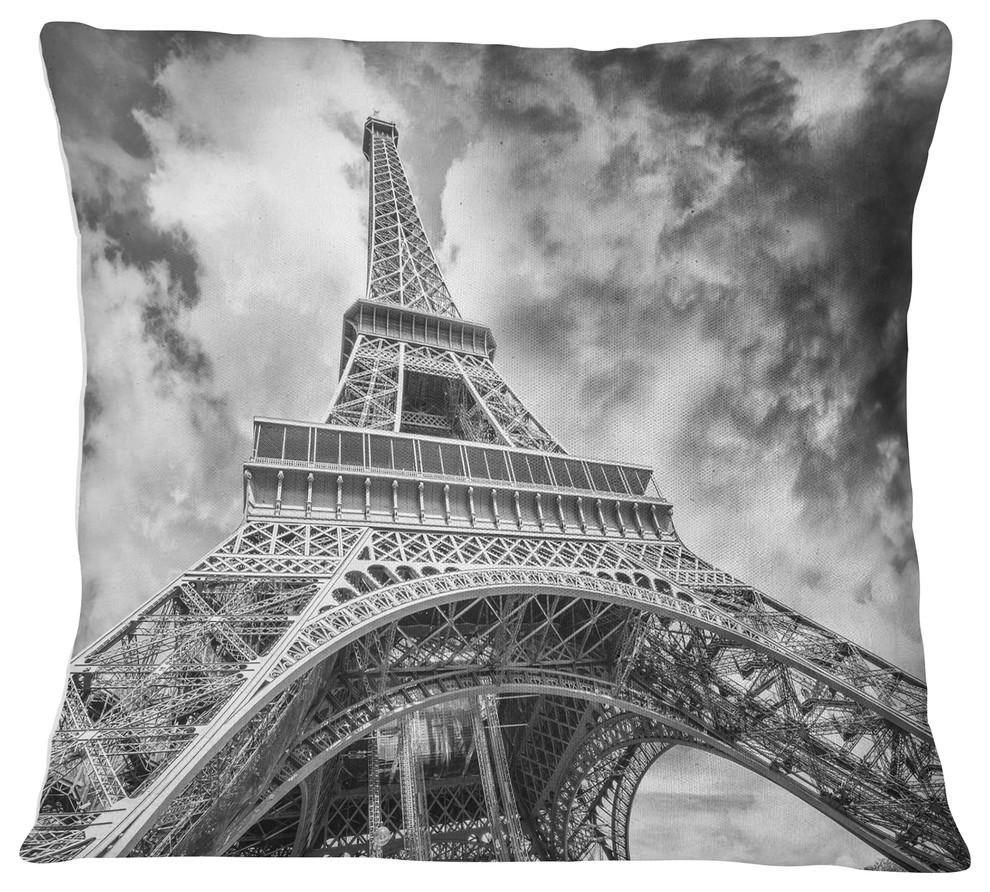 Black And White View Of Paris Paris Eiffel Tower Cityscape Throw Pillow Contemporary Decorative Pillows By Designart