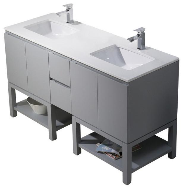 Bathroom Sinks For Quartz Countertops emmet 60 double vanity - bathroom vanities and sink consoles -