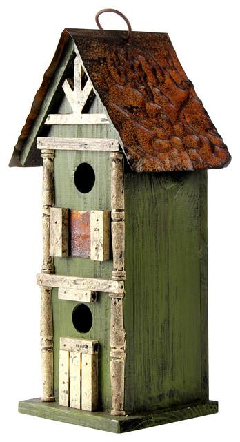 Rustic Garden Distressed Wooden Birdhouse Green Rustic