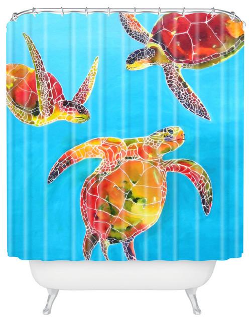Clara Nilles Tie Dye Sea Turtles Shower Curtain