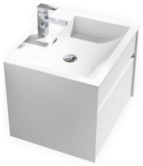 kubebath tona single sink high gloss white wall mount bathroom vanity 24 modern
