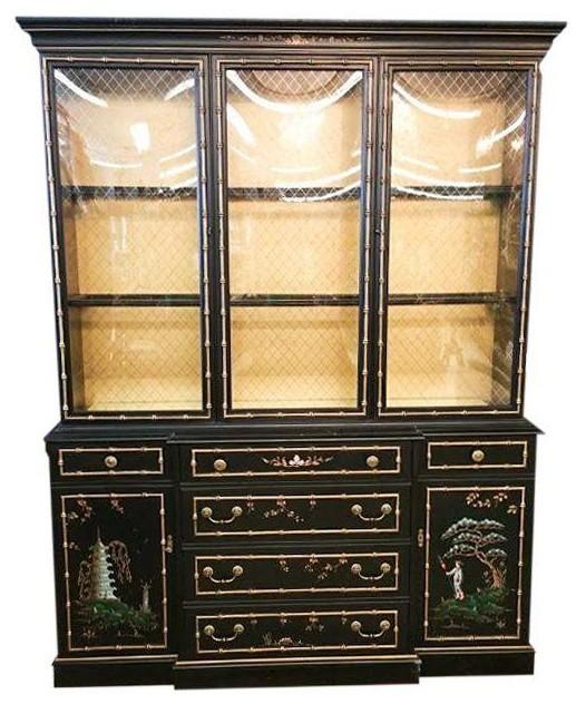 Chinoiserie Vintage Jasper China Cabinet - Modern - China Cabinets ...