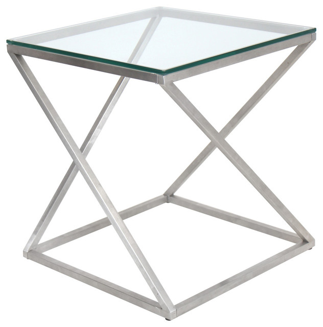 LumiSource 4Z End Table, Stainless Steel With Clear Glass