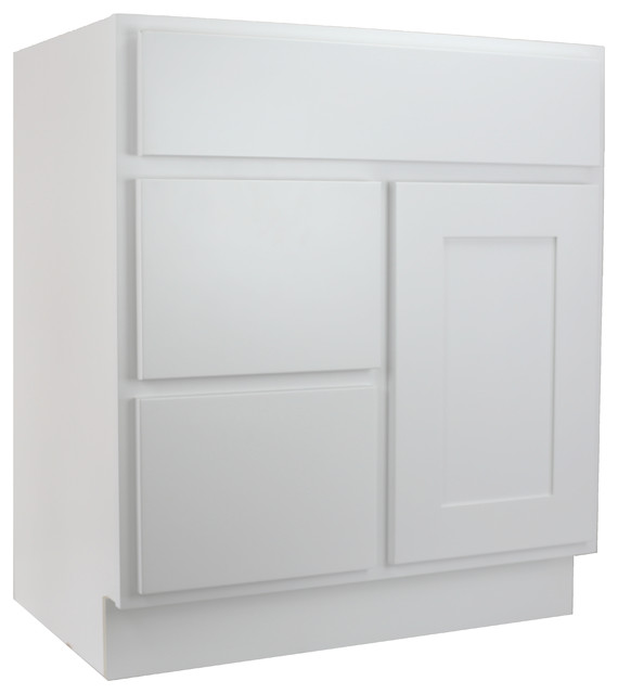 Cabinet Mania White Shaker 30 Bathroom Vanity With Left Drawer