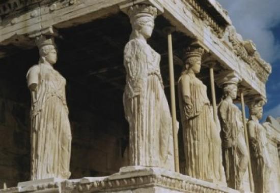 porch of maidens caryatids erectheum greek art marble acropolis