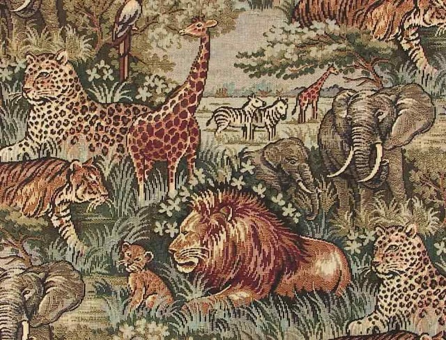 Safari Wild African Animals Upholstery Fabric Transitional