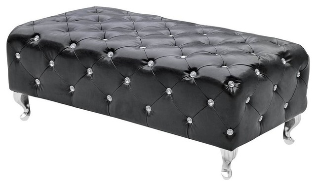 Tufted Bench, Black. -1