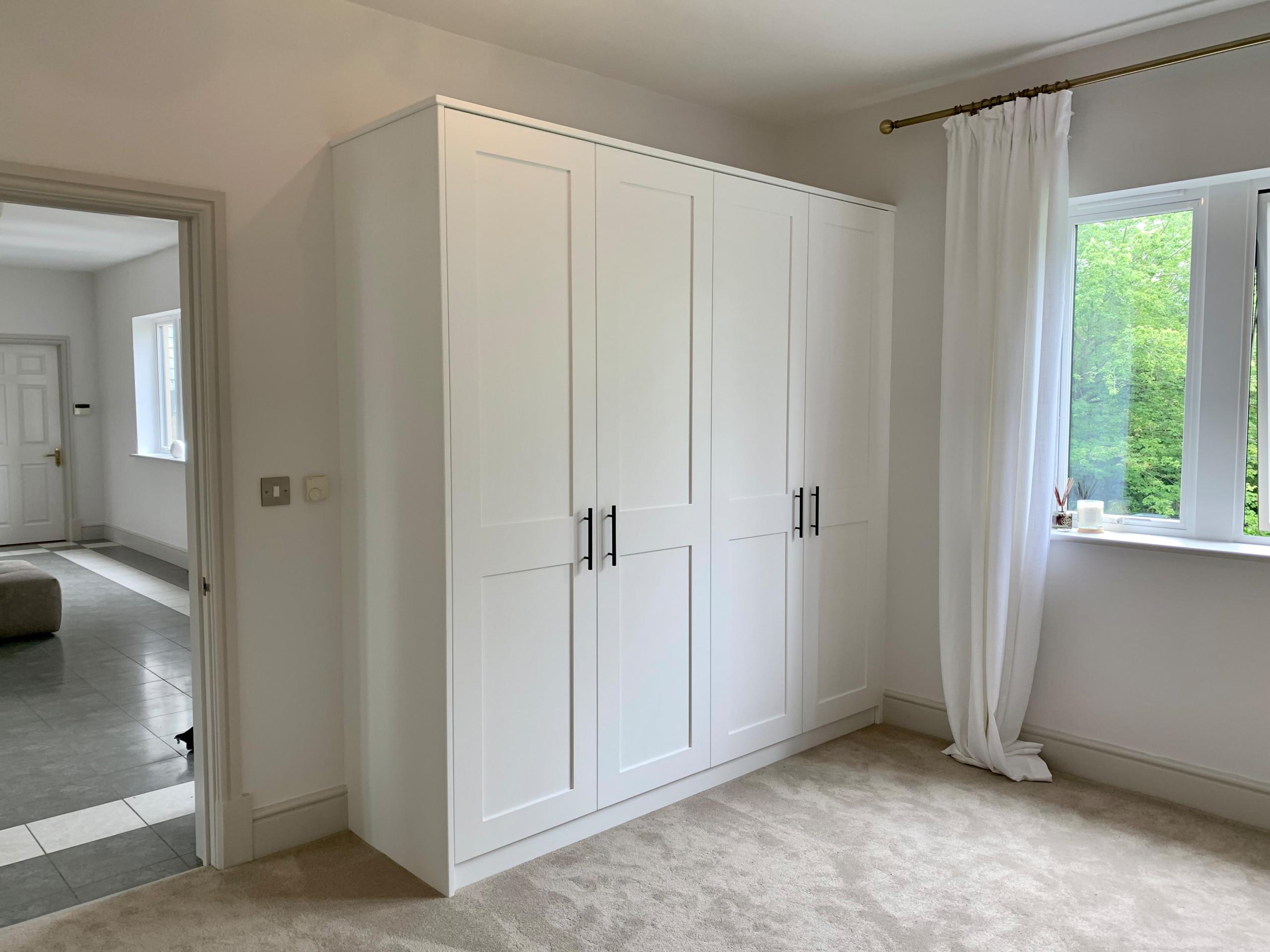 Brilliant white spray painted shaker door style