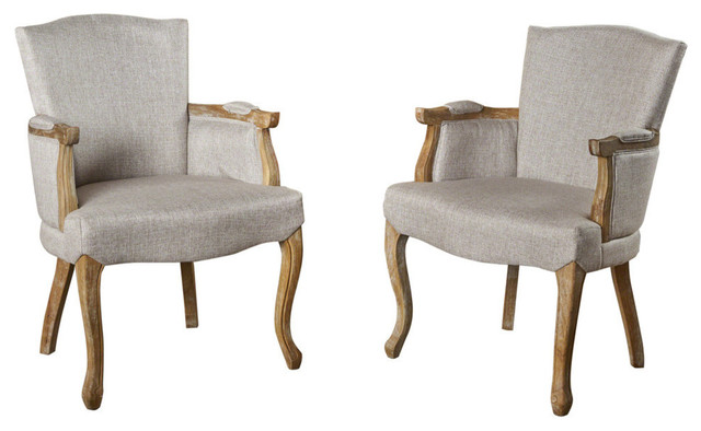 GDF Studio Eva Traditional Fabric Dining Armchair, Beige, Set of 2
