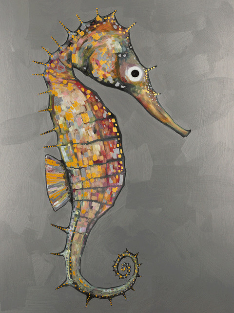 """""""floating Seahorse Silver, Embellished"""" Stretched Canvas Wall Art By Eli Halpin."""