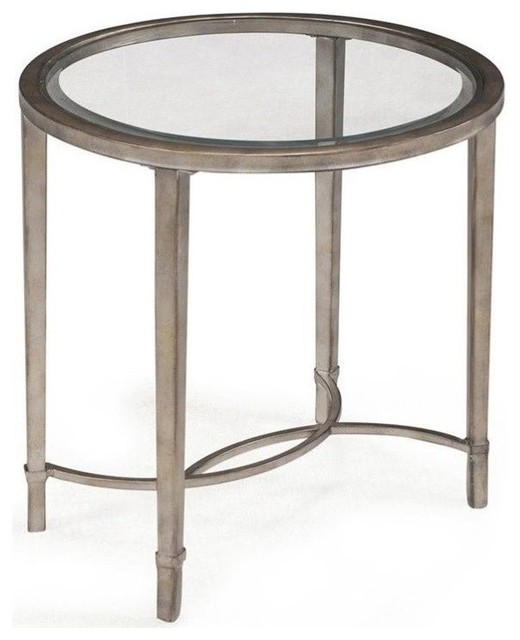 Beaumont Lane Glass Top End Table, Antique Silver Side Tables And End