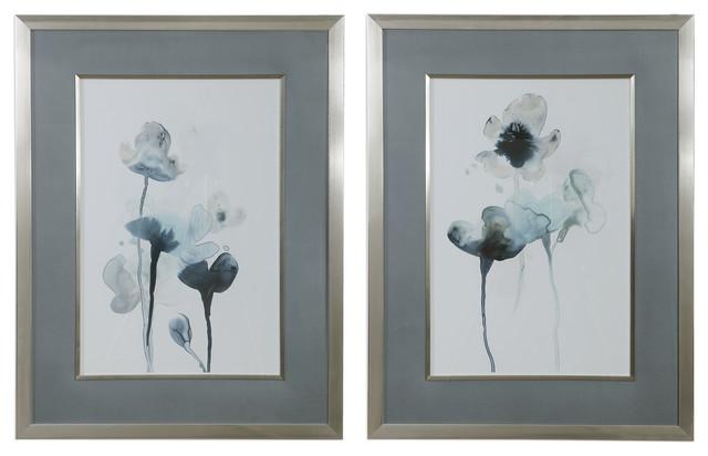 Elegant Blue Gray Green Watercolor Floral Print Set 2 Botanical Silver Framed
