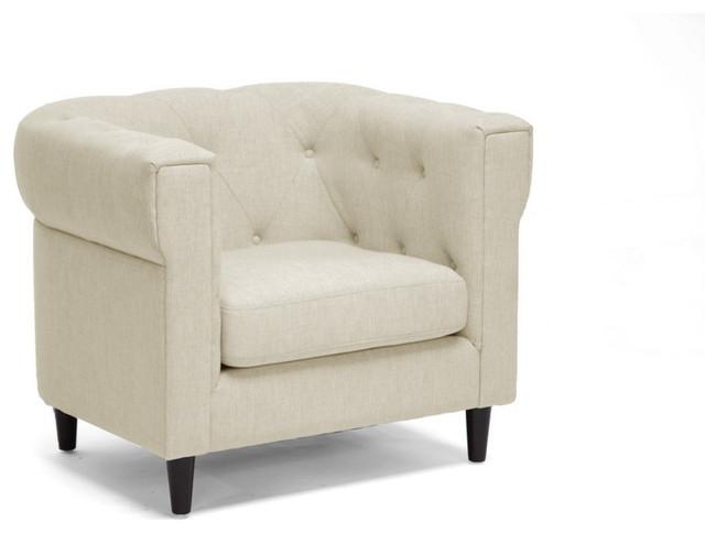 Cortland Linen Modern Chesterfield Chair Midcentury Armchairs