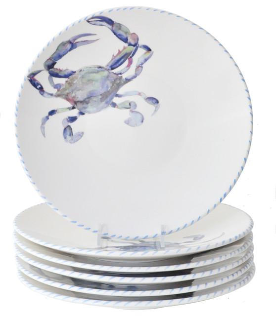 Blue Crab Dinner Plates, Set Of 6 Beach Style Dinner Plates