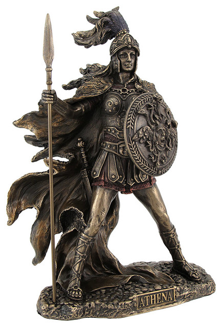 Bronzed Athena Goddess Of Wisdom And War Statue Traditional Decorative Objects Figurines