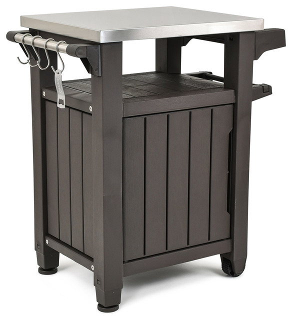 Keter Unity Indoor Outdoor BBQ Prep Station and Serving Cart, Espresso Brown