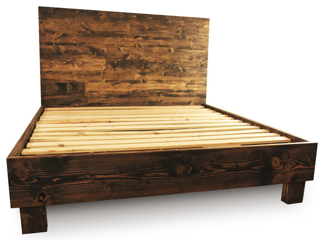 farm style platform bed frame dark walnut full rustic platform beds - Platform Bed Frames Full