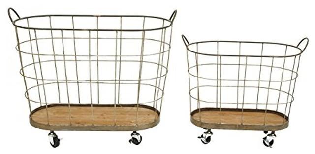 Set Of 2, 30.5l Metal Rolling Laundry Baskets.