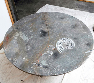 Fossil marble table tops modern st louis by time tables for 212 salon st louis