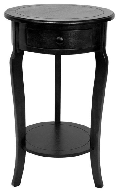 "Black Side Table 26"" classic round end table w/ drawer - side tables and end tables"