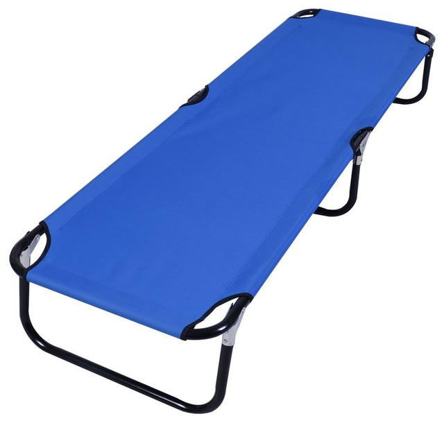 Modern Outdoor Portable Blue Folding Camping Bed.