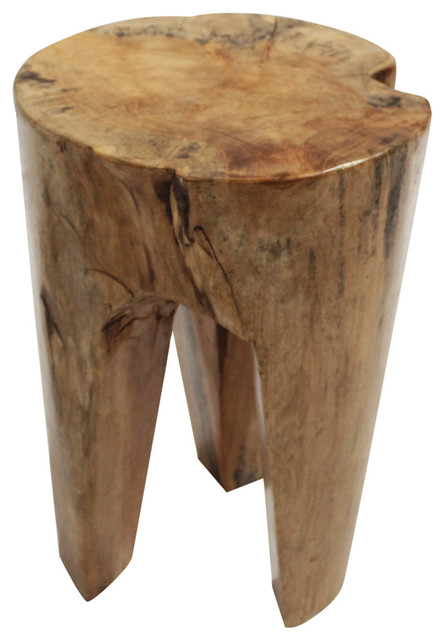 Teak Wood Carved Three Leg Stool rustic-accent-and-garden-stools  sc 1 st  Houzz & Teak Wood Carved Three Leg Stool - Rustic - Accent And Garden ... islam-shia.org