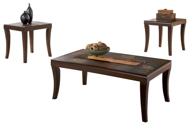 standard furniture laguna 3-piece coffee table set in antique iron