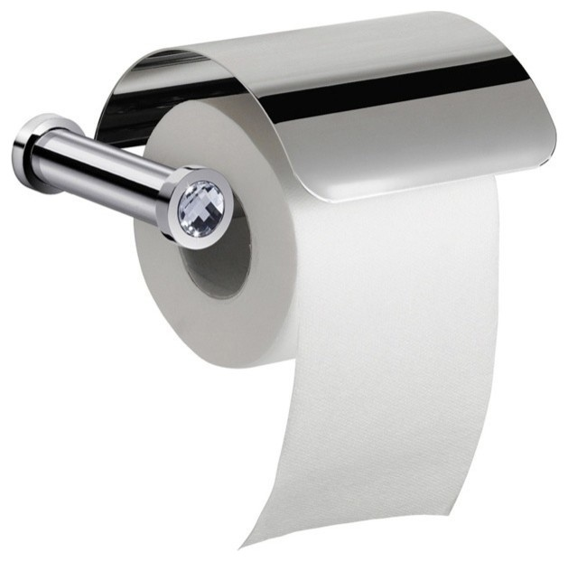 Wall Mounted Toilet Roll Holder With Cover And White Crystal