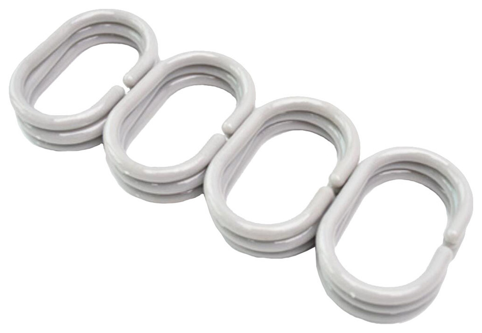 12 PCS Bathroom Accessories Shower Curtains Hooks Curtain Rings Type C-Coffee