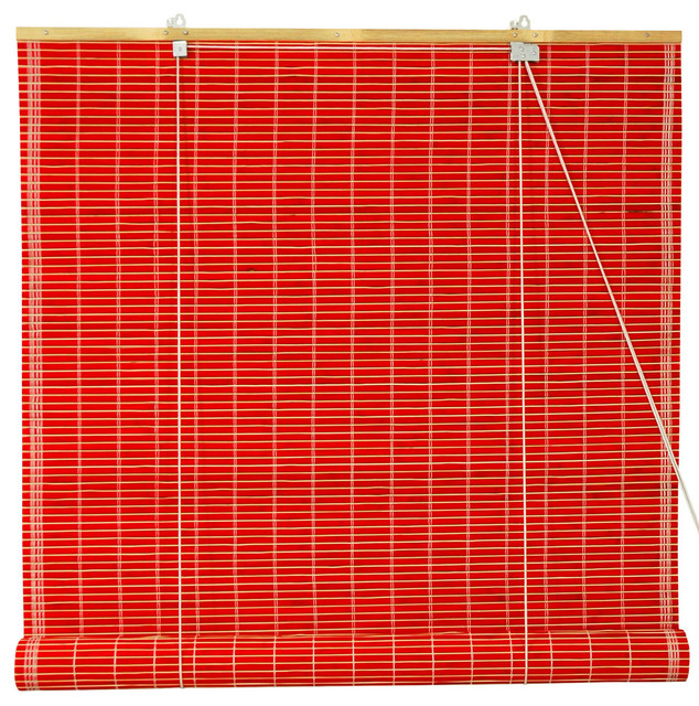 """Bamboo Roll Up Blinds, Red, 48""""x72""""."""